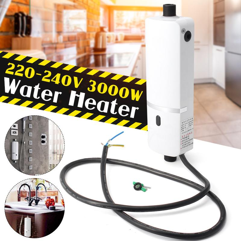 Electric Instant Heating Tankless Water Heater Hot 220V 3000W Quick Heating Constant Temperature Under Sink Tap Faucet