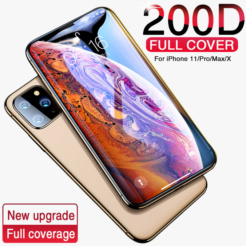 200D Protective Glass On The For IPhone X XS MAX XR Tempered Glass PET Edge Film For IPhone 11 Pro Max Glass Screen Protector