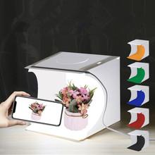 LED fotograficzne pudełko z lampą kreatywny Mini Studio składany przenośny 20*20CM materiał pcv 5V 1A USB wysokiej jakości nietypowa lampa pudełko z lampą tanie tanio COOLFIRE Other 6857 NONE Żarówki led Awaryjne
