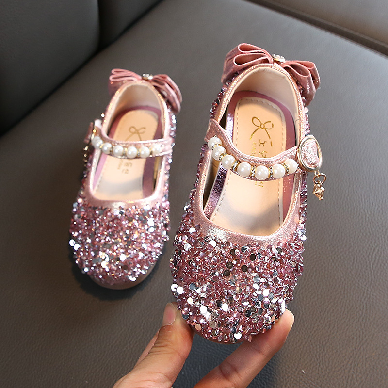 Girls Shoes Kids Leather Shoes Sandals Pink Silver Spring Autumn Fashion Children's Shiny Pearl Performance Girls Princess Shoes