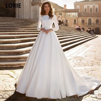 LORIE 2020 Muslim White Satin Wedding Dresses with Full Sleeve Beach A-line Bridel Gown Court Train Lace Appliques