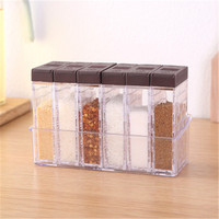 Creative Home Kitchen Supplies Seasoning Box Set Transparent Seasoning Box 6-Piece Seasoning Containers