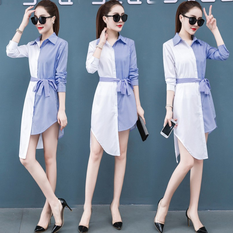 S-5XL Summer 2020 Thin Casual Women T-shirt Dress Long Sleeve Patchwork Irregular Dress Plus Size Sexy Dress Chiffon Vestidos