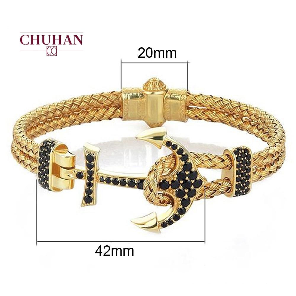 CHUHAN Trendy Charm Stainless Steel Rose Gold Anchor Bracelets Men Black Bangle Luxury Rock Hip Hop Jewelry J84