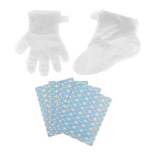 200cps Disposable Paraffin Wax Spa Foot Hands Care Bags Plastic Socks Gloves with Stickers for Women Men(China)