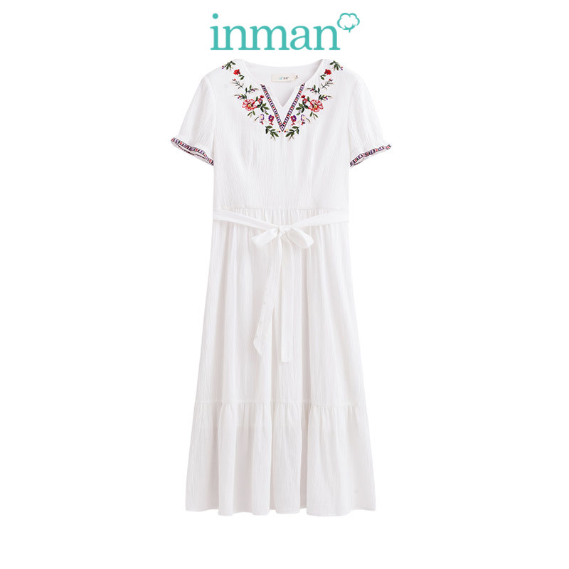 Inman O-Neck Retro Dress Short Sleeve A Line Cotton Dress Summer Mid Claf Embroidery Ladies Dress