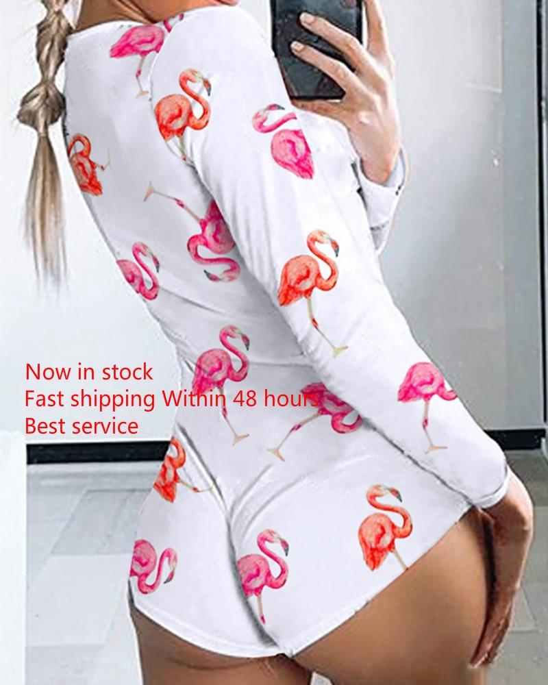 Sexy Women Bodysuit Long Sleeve Deep V Neck Bodycon Stretch Leotard Bodysuit Button Short Romper Pajama Women Sleepwear Jumpsuit