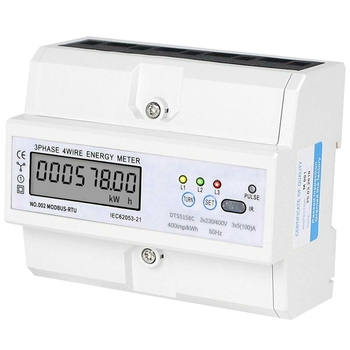 HOT-3 x 5(100)A DIN Rail 3 Phase 4 Wire LCD Digital Wattmeter Electronic Power Consumption Energy Meter 3 x 230/400(V)