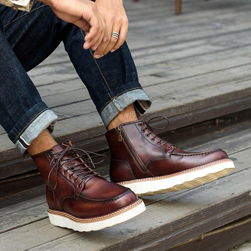 Новинка; модная мужская удобная обувь на шнурках ручной работы из натуральной кожи с круглым носком; мужская обувь на плоской платформе; бот... - 3