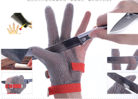 Top safety American material Three finger stainless steel chainmail wire mesh safety glove suit for meat processing