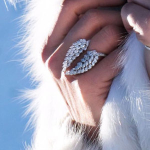 Image 1 - Choucong Anillo de boda con diseño de alas de Ángel para mujer, Sortija de plata de ley 925, corte de marquesa, AAAAA, flor, joyería de fiesta