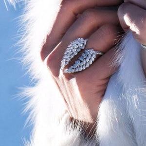 Image 1 - Кольцо с крыльями ангела choucong, кольцо обещания из стерлингового серебра 925 пробы с фианитом маркиза AAAAA, обручальное кольцо с цветком для женщин, ювелирные изделия вечерние Ринок