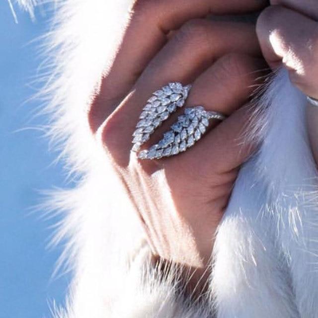 Кольцо с крыльями ангела choucong, кольцо обещания из стерлингового серебра 925 пробы с фианитом маркиза AAAAA, обручальное кольцо с цветком для женщин, ювелирные изделия вечерние Ринок