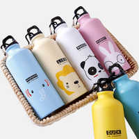 500ml Bicycle Sports Outdoor My Water Bottle Stainless steel Cute Animal Pattern Portable Mountaineering Kettle with buckle