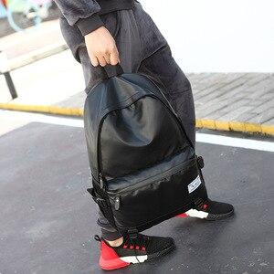 Image 4 - 革バックパックティーンエイジャースクールバッグ男性のラップトップバックパック少年少女スクールバックパックショルダーバッグ Mochila