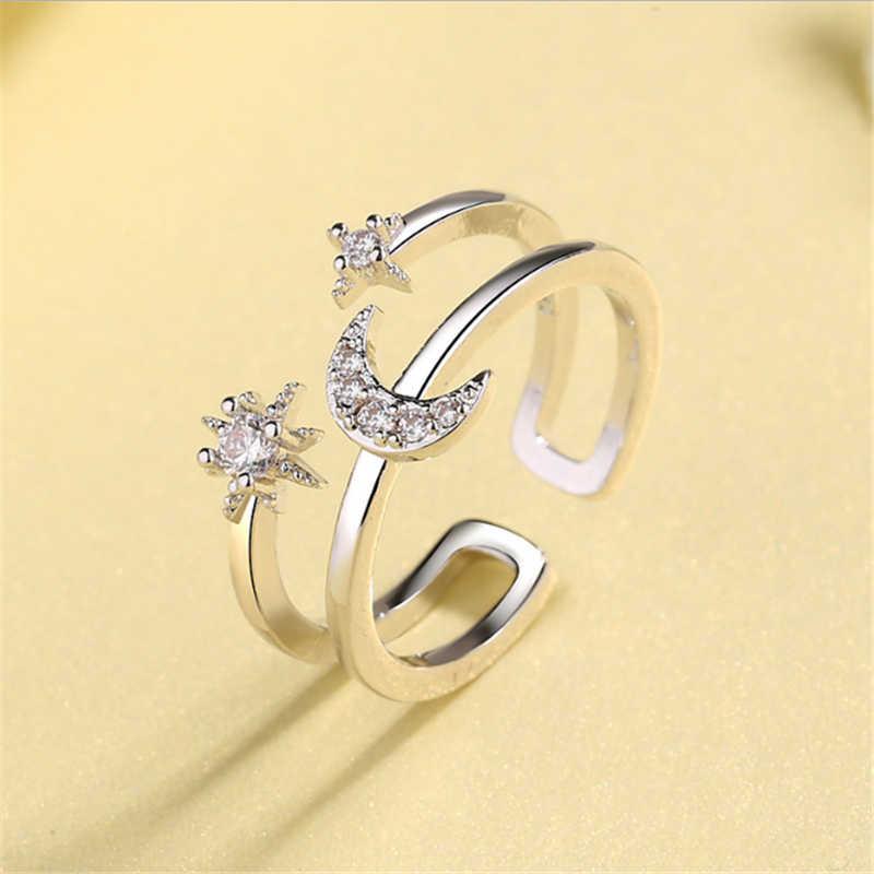 Новая коллекция, кольцо с кубическим цирконием в виде звезды луны, регулируемое, 925, настоящее серебряное кольцо Anillos Plata, обручальные Обручальные кольца для женщин и девочек