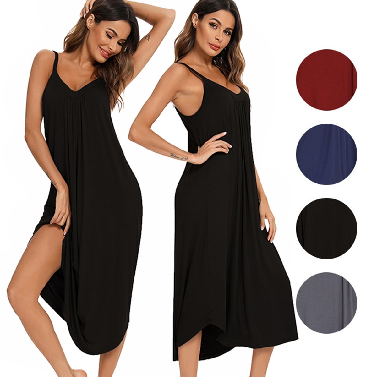 Women Long Sexy Nightwear Modal Sleepwear Spaghetti Strap Nightgowns Sleepshirts Plus Size Nightdress Lingerie Home Cloth Dress