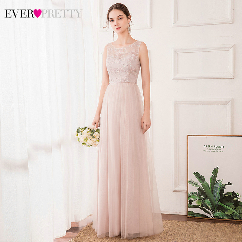 Elegant Pink Prom Dresses Ever Pretty Sequined Beaded A-Line O-Neck Sleeveless Tulle Long Party Gowns Vestido De Festa 2020