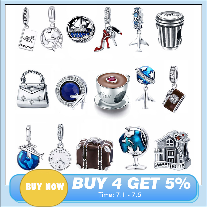 Bracelet DIY Jewelry Charm Shoes House Coffee-Cup Eiffel Travel-Dream 925-Sterling-Silver