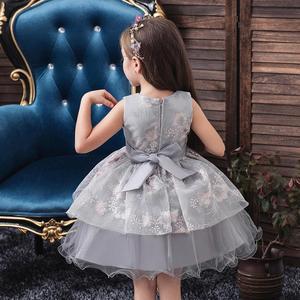 Image 4 - baby summer dress Girls embroidered dress enfant birthday Princess Dress bow floral childrens Puff dresses 1 5y girl vestidos