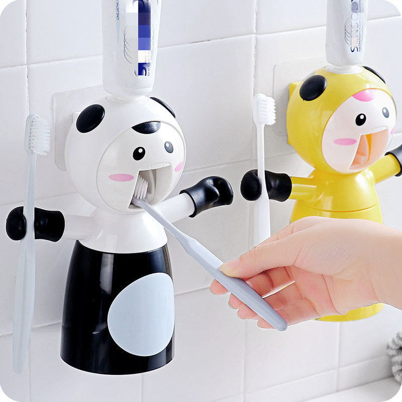 Funny Cartoon Lazy Automatic Toothpaste Dispenser, Wall Mount Children Magnet Toothbrush Holder Stand With Mouthwash Cup Storage