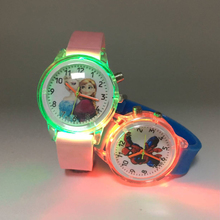 Cartoon Princess Elsa Children Watches Spiderman Colorful Flash Light B