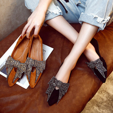 Women Flat 2019 Elegant  Fashion Women Flat Ballet Shoes Bling Crystal Bow Tie Pointed Toe Flats Shoes Lady Shiny Flat women slipper gold embroidered animal pattern women flats bow tie decor women shoes cover toe fashion chic suede autumn shoes