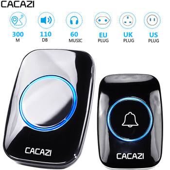 CACAZI timbre inalámbrico impermeable 300M distancia EU au UK US enchufe inteligente timbre de la puerta timbre de la batería de 110 V-220 V 1 botón tableta amortiguador Tech accesorio beige Rojo Negro compruebe Tartan tableta amortiguador receptor