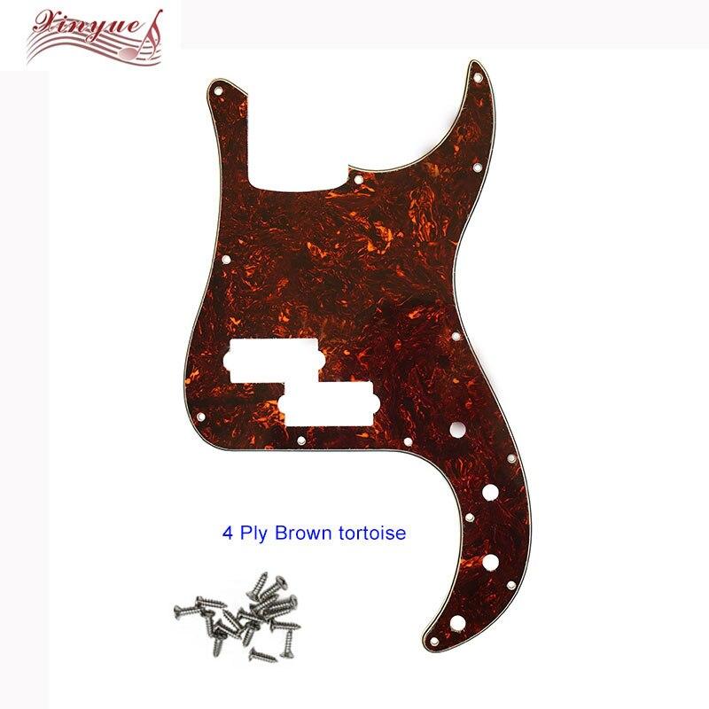 Pleroo Custom Guitar Pickgaurd - For Deluxe P Bass Guitar Pickguard Scratch Plate ,  4 Ply Brown Tortosie