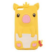 PIG Crown Bow Tie SILICONE SKIN Rubber COVER CASE for iPod Touch(China)