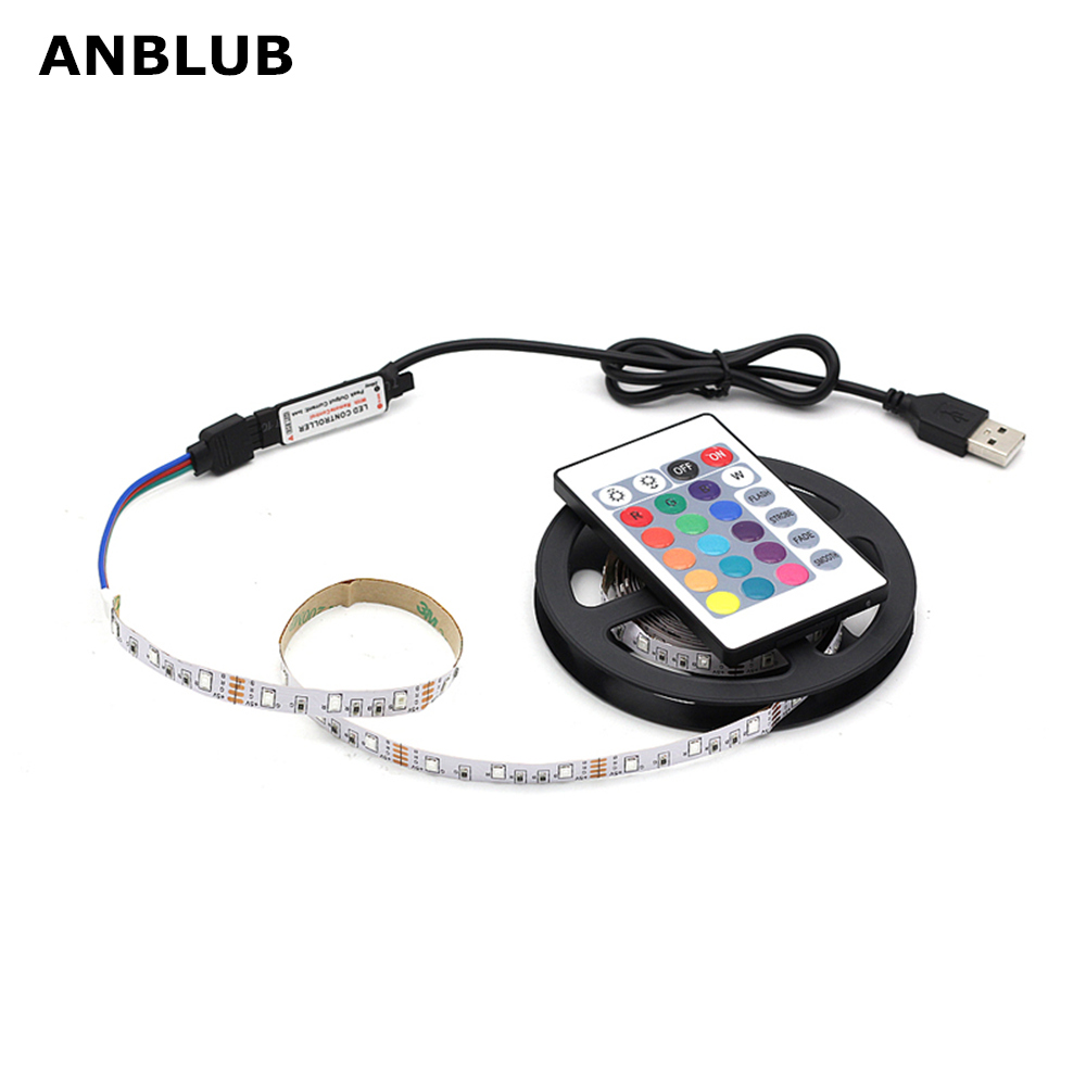 ANBLUB 1M 2M 3M 4M 5M USB LED Strip RGB Lamp 2835 SMD DC5V Flexible Light Tape Ribbon HDTV TV Desktop Screen Backlight Lighting