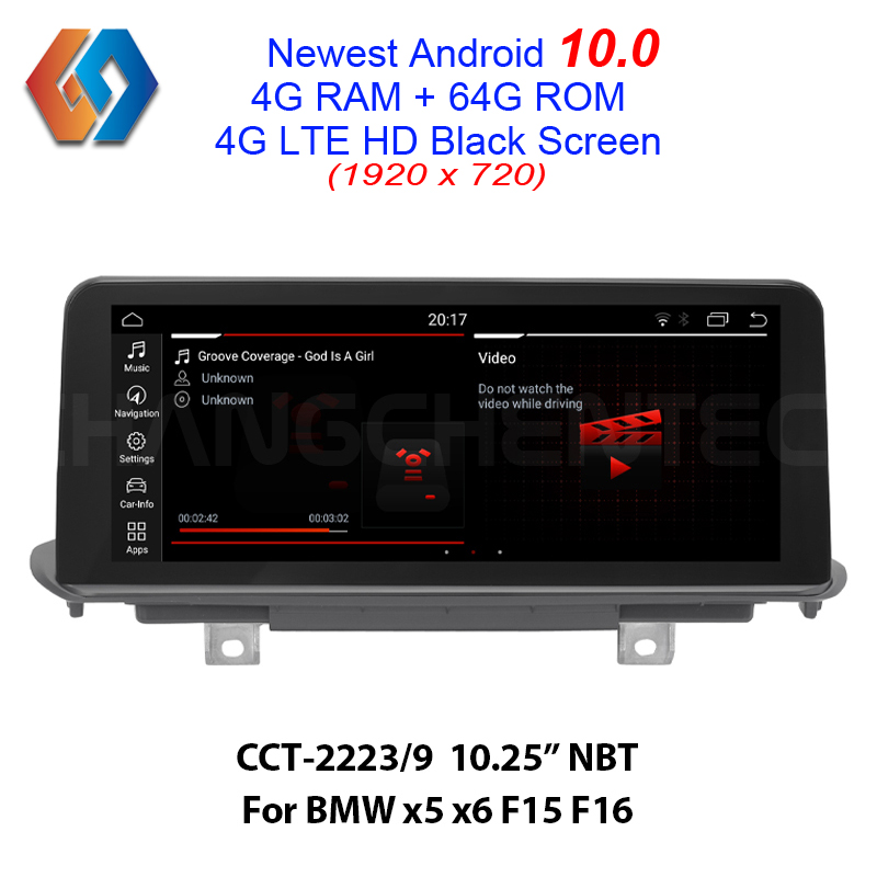 First Come New Android 10 for BMW x5 x6 F15 F16 with HD Black Screen High Resolution 1920x720 4G ram 64G rom Car GPS Multimedia image
