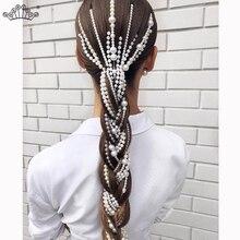 Искусственный жемчуг, Длинная кисточка/цепочка, свадебные аксессуары для волос, заколка для волос, женские вечерние аксессуары, свадебные аксессуары, украшения для волос