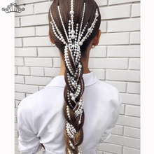 Simulated Pearl Long Tassel/Chain Bridal Wedding Hair Accessories Clip Women Party Jewelry