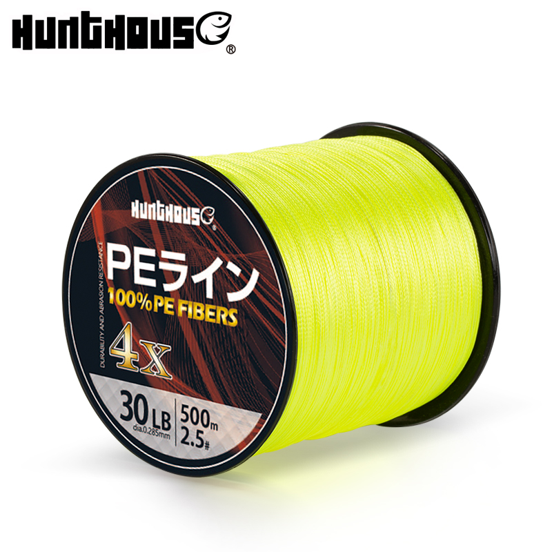 Hunthouse 4 strands cores pe braided fishing line multifilament wicker fishing cord string 300m 500m 1000m yellow green for bass|Fishing Lines| |  - title=