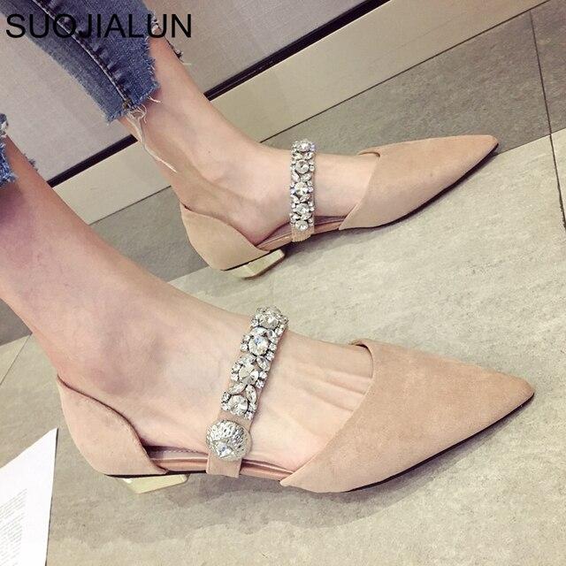 SUOJIALUN nowa wiosna płaskie buty damskie Rhinestone buty damskie na co dzień wkładane mokasyny szpiczasty nosek kobiet płaskie buty baleriny