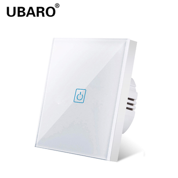 UBARO touch lamp switch EU standard white glass switch circuit switch Ac220v touch switch a group of one way switch, wall touch lson 1 way touch pad wall switch for light lamp white black