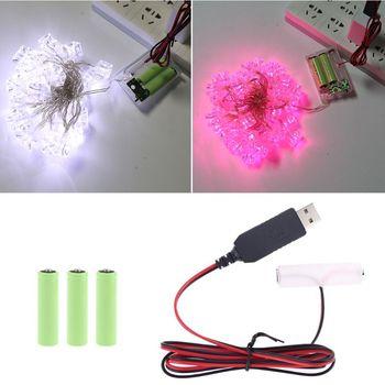 LR6 AA Eliminador de batería 300cm Cable de alimentación USB reemplazar 1-4 Uds AA batería para Radio juguete eléctrico reloj tira LED