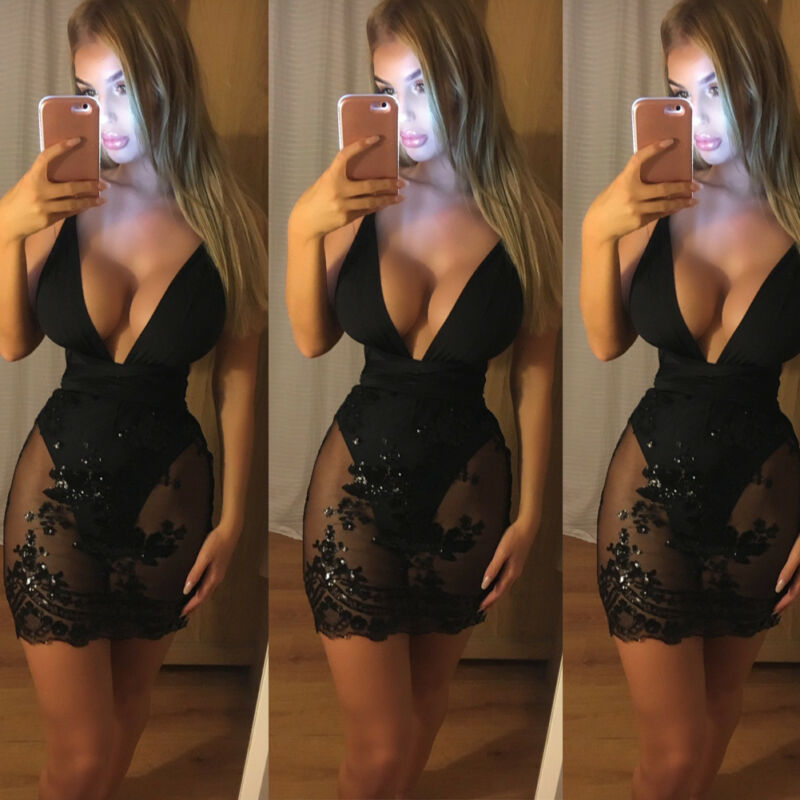 <font><b>Deep</b></font> <font><b>V</b></font> Neck Summer Black <font><b>Dress</b></font> Women Lace Sequin Backless <font><b>Sexy</b></font> Women Sleeveless Mini <font><b>Dress</b></font> <font><b>Party</b></font> Clubwear <font><b>Dresses</b></font> Vestidos image