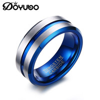 DOYUBO Punk Design Blue Matte Tungsten Steel Ring For Men Hip Hop Male Trendy Finger Ring Engrave Logo Inside Fashion Ring DA119
