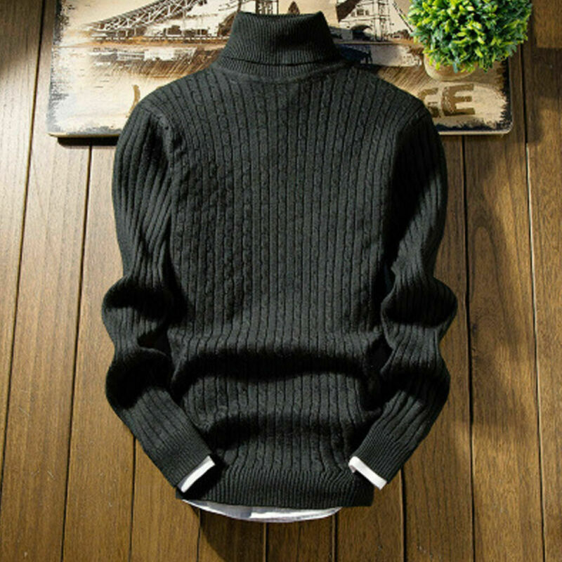 2020 Men's Spring Autumn Warm Sweater Fashion Noble Soft Knitted Solid High Roll Turtle Neck Pullover Coats Jumper Tops Clothes