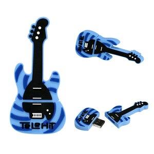 USB 2.0 Flash U disk Blue Music Electric Guitar Creative gift Pendrive 64 128GB 16 32 4 256 8 gb Pen Drive memory Stick Silicone