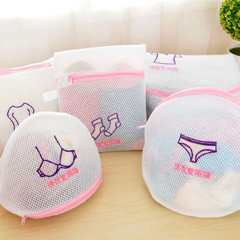 Storage Organizer Mesh Bag Laundry Basket Sock Underwear Washing Lingerie Wash Thickened Double Layer Zippered Mesh Laundry Bag