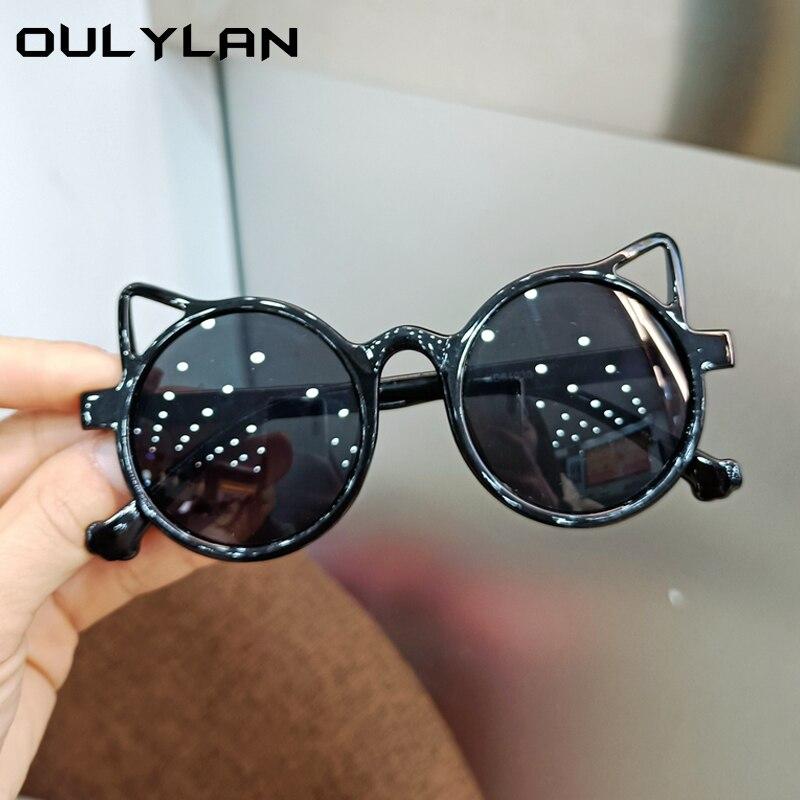 Oulylan 2021 модные детские солнцезащитные очки кошачий глаз для мальчиков и девочек винтажные цветные очки детские милые черные круглые очки ...