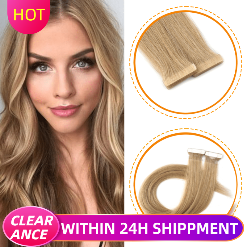 CLEARANCE ITEMS K.S WIGS 16'' 20'' 24'' Straight Hand Tied Tape In Remy Hair Extensions Double Drawn PU Skin Weft Human Hair