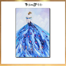 Art - Flying Skirt 100% Hand-painted Modern Wall for Home decoration Abstract Girl Dancing Oil Painting on Canvas Work
