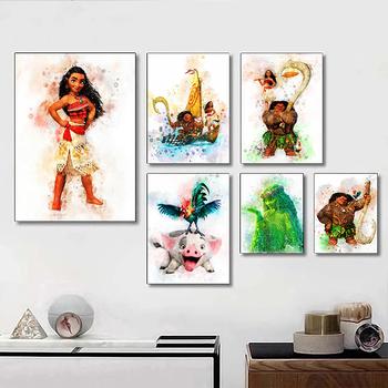 Obrazy na płótnie Disney Maui Pua Hei Hei TeFiti Moana akwarela plakaty i druki obraz ścienny do salonu Home Decor tanie i dobre opinie CN (pochodzenie) Wydruki na płótnie Pojedyncze PŁÓTNO akwarelowy abstrakcyjne bez ramki Malowanie natryskowe Pionowy prostokąt