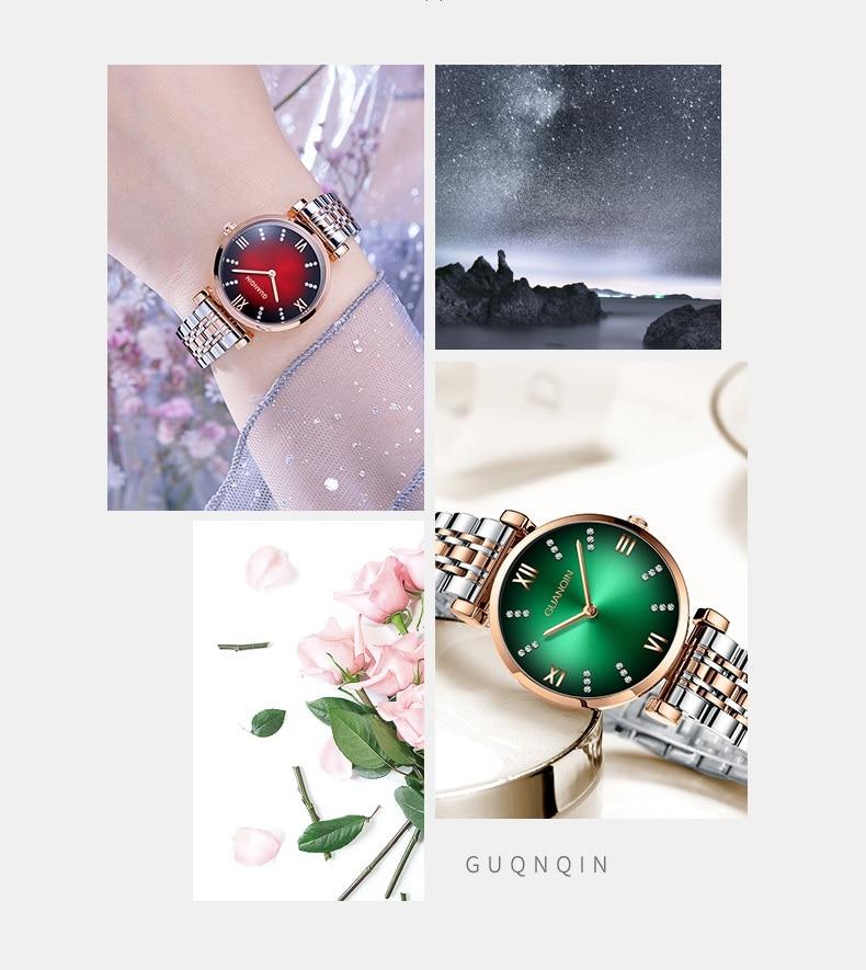 Woman Watch 2019 GUANQIN GS19122 Quartz Luxury Brand Ladies Watch Green Waterproof Simple Fashion Wrist Watch Tool Dropshipping (3)
