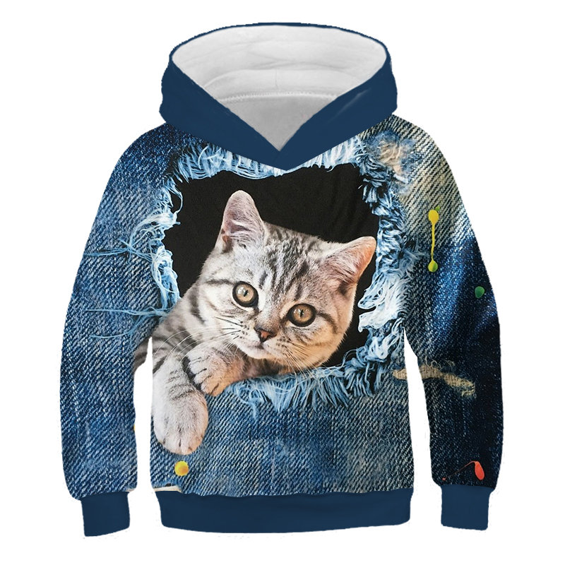 3D Print Cat Hoodies Kids Teens Long Sleeve Sweatshirts 3D Toddler Baby Boy Clothes Autumn Family Pullover Sweater Coat Tops 6