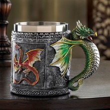 3D Pattern Stainless Steel Mug Dragon Tankard Celtic Knot Work Beer Coffee Tea Cup King Drinking CuP Insert 350ML